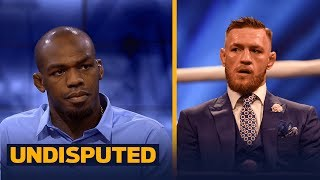 Jon Jones joined Skip Bayless and Shannon Sharpe ahead of UFC 214 to discuss his legacy, his upcoming fight with Daniel Cormier and weighs in on Conor McGregor vs. Floyd Mayweather.SUBSCRIBE to get the latest UNDISPUTED content: http://foxs.pt/SubscribeUNDISPUTED▶Watch our latest NFL content: http://foxs.pt/NFLonUNDISPUTED▶Watch our latest NBA content: http://foxs.pt/NBAonUNDISPUTED▶Watch our latest MLB content: http://foxs.pt/MLBonUNDISPUTED▶The Herd with Colin Cowherd's YouTube channel: http://foxs.pt/SubscribeTHEHERD▶Speak for Yourself's YouTube channel: http://foxs.pt/SubscribeSPEAKFORYOURSELFSee more from UNDISPUTED: http://foxs.pt/UNDISPUTEDFoxSportsLike UNDISPUTED on Facebook: http://foxs.pt/UNDISPUTEDFacebookFollow UNDISPUTED on Twitter: http://foxs.pt/UNDISPUTEDTwitterFollow UNDISPUTED on Instagram: http://foxs.pt/UNDISPUTEDInstagramFollow Skip Bayless on Twitter: http://foxs.pt/SkipBaylessTwitterFollow Shannon Sharpe on Twitter: http://foxs.pt/ShannonSharpeTwitterFollow Joy Taylor on Twitter: http://foxs.pt/JoyTaylorTwitterAbout Skip and Shannon: UNDISPUTED:UNDISPUTED is a daily two-and-a-half hour sports debate show starring Skip Bayless and Shannon Sharpe,and moderated by Joy Taylor on FS1. Every day, Skip and Shannon will give their unfiltered, incisive,passionate opinions on the biggest sports topics of the day.Jon Jones calls himself the greatest fighter in UFC history, talks McGregor/Mayweather  UNDISPUTEDhttps://youtu.be/rBHmzwTpO1kSkip and Shannon: UNDISPUTEDhttps://www.youtube.com/c/UndisputedOnFS1