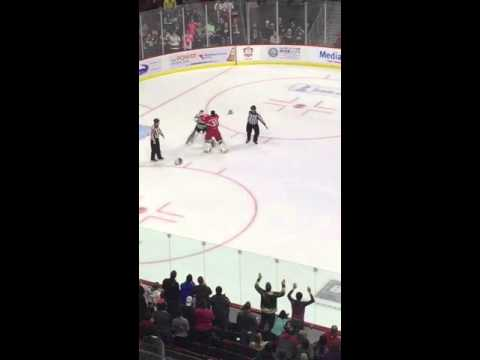 Crazy Goalie Fight in Iowa Wild Game!