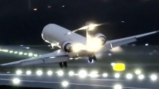 """No, this wasn't Storm Doris - or storm anything. But there was a true crosswind gusting to 24 knots/28 mph on the wet evening of 17th march 2017, which caught this SAS CRJ-900 on flight 2535. The go around was reported as due to """"unstable"""" approach on short finals."""