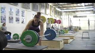 Weightlifting training footage of Catalyst weightlifters. Alyssa block clean pull + block clean, Jessica block clean pull +
