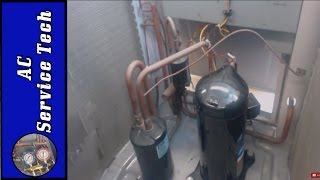 "In this HVAC Video I discuss the Suction Line Accumulator Tank Purpose, Function, and where it is installed at. I go over how the Accumulator Tank works to Keep the Compressor safe as well as the difference between a Receiver and an Accumulator. I discuss preventative maintenance techniques. I also go over the refrigerant flow in heating and in cooling mode as it pertains to the saturated state. I go over when the liquid is in the accumulator and when it is drained.Supervision is needed by a licensed HVAC Tech while doing this as Experience and Apprenticeship garners Wisdom and Safety.These Videos are all part of our Training Series on HVACR Service, Installation, Preventative Maintenance, General Knowledge, and Tips. Please comment and ask for videos that you would like to see in the future! We come out with new videos every few days from my job sites, service calls, and the training shop! I hope you enjoy and find them very beneficial! See you next time at ACSERVICETECH Channel!Check out this Playlist Next!Air Conditioning and Heat Pump Refrigerant Charging-----https://www.youtube.com/playlistlist=PLxnHR5_D2ojzAUXWWQt9A8juotNkzwYlkPlease add any Questions or Comments in the Box Below and I will Get Back with You!ACSERVICETECH is a participant in the Amazon Services LLC Associates Program, an affiliate advertising program designed to provide a means for sites to earn advertising fees by advertising and linking to Amazon.com.You can enter Amazon through this Affiliate Link found here or in the "" Discussion"" Channel Page Comments http://amzn.to/2aenwTqPrices are the same as usual. (Link has to be clicked on from an ACSERVICETECH YouTube source and not cut and pasted)The above link happens to be the Gauge Set that I use in my refrigerant videos but you can search from there.Here is the link to the Plasti Dip 14.5oz can  http://amzn.to/2pSyoP9Here is a link to Refrigerant hoses with valves used in the videos  http://amzn.to/2aBumVI   Here is the Link for the Yellow Jacket Refrigerant Manifold Gauge Set used in the videos http://amzn.to/2aenwTqHere is a link to the UEI DL389 Multimeter used in the video  http://amzn.to/2av8s3qHere is the link to the Fieldpiece SDMN6 Dual Pressure Testing Manometer with Pump-http://amzn.to/2jyK5KaHere is a link for the Supco Magnet Jumpers http://amzn.to/2gS4h6zHere is a link to the Digital Refrigerant Scale used in the videohttp://amzn.to/2b9oXYlHere is a link to the Imperial 535-C Kwik Charge Vaporizer for Charging Refrigerant- http://amzn.to/2oge0u9Here is a link to the thermostat 3/32 screwdriver --  http://amzn.to/2hxt7uKHere is a link to the C&D core removal tool  http://amzn.to/2bFpobQHere is a link to the JB 6 CFM Vacuum Pump   http://amzn.to/2nqbvo8Here is a link to the JB Platinum 5 CFM Vacuum Pump with Valve  http://amzn.to/2mGKcShHere is a link to 1 gallon of JB Vacuum Pump Oil   http://amzn.to/2mGrlXyHere is a link to the Supco Vacuum Micron Gauge  http://amzn.to/2bH98bOHere is a link to the 1/4"" by 1/4"" female coupler from Supco - http://amzn.to/2kFrbU9Here is a link to the Hilmor 4 port Aluminum Manifold Gauge Set- http://amzn.to/2m4QLikHere is a link to the Supco core removal tool  http://amzn.to/2brEJcoHere is a link the Nitrogen Regulator    http://amzn.to/2bXdR5fHere is a link to the Nitrogen Flow Meter    http://amzn.to/2brvoBgHere is a link to the General Tools digital Psychrometer http://amzn.to/2cSHsi1Here is a link to the Amprobe Digital Psychrometer http://amzn.to/2d7cGkWHere is a link to the Fieldpiece SDP2 Digital Psychrometer- http://amzn.to/2nniMVRHere is the UEI Digital Manometer used in the videos  http://amzn.to/2c1XkiTHere is the link for the Ratcheting Service Wrench   http://amzn.to/2dGV4NhHere is a link to the Appion G5 Twin Recovery Pump   http://amzn.to/2dGSEyrHere is a link for RectorSeal Bubble Gas Leak Detector http://amzn.to/2ckWACnHere is a link to the air acetylene torch setup-    http://amzn.to/2aQalsb   Here is a link to the Malco Snap Lock Punch http://amzn.to/2cY53AgHere is a link to the Wiss 3 Pack Tin Snips http://amzn.to/2bHWhWOHere is a link to the Wiss 5 Blade Crimper http://amzn.to/2bwTlsWHere is a link to the Wiss Hand Seamers  http://amzn.to/2dRk83vHere is the link for the Hitachi Lithium Ion Drill and Flashlight kit  http://amzn.to/2dzNgkLHere is the link for the Irwin Wire Stripper/Cutter/Crimper   http://amzn.to/2dGTj2VHere is the link for the Hilmor 12"" folding tool    http://amzn.to/2d9VTPRHere is the link for the Malco 3"" Blade Combination Snips  http://amzn.to/2dz7EjcThanks for your support! I believe this to be the verybest price I have found. Please let me know if anyone finds a lower price anywhere!Thank You, ACSERVICETECH"