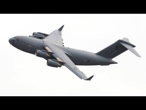 The RAAF C-17 Globemaster putting...