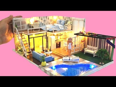 5 DIY DOLLHOUSE BARBIE two-storey Dollhouse Decor Bedroom, kitchen, toilet etc