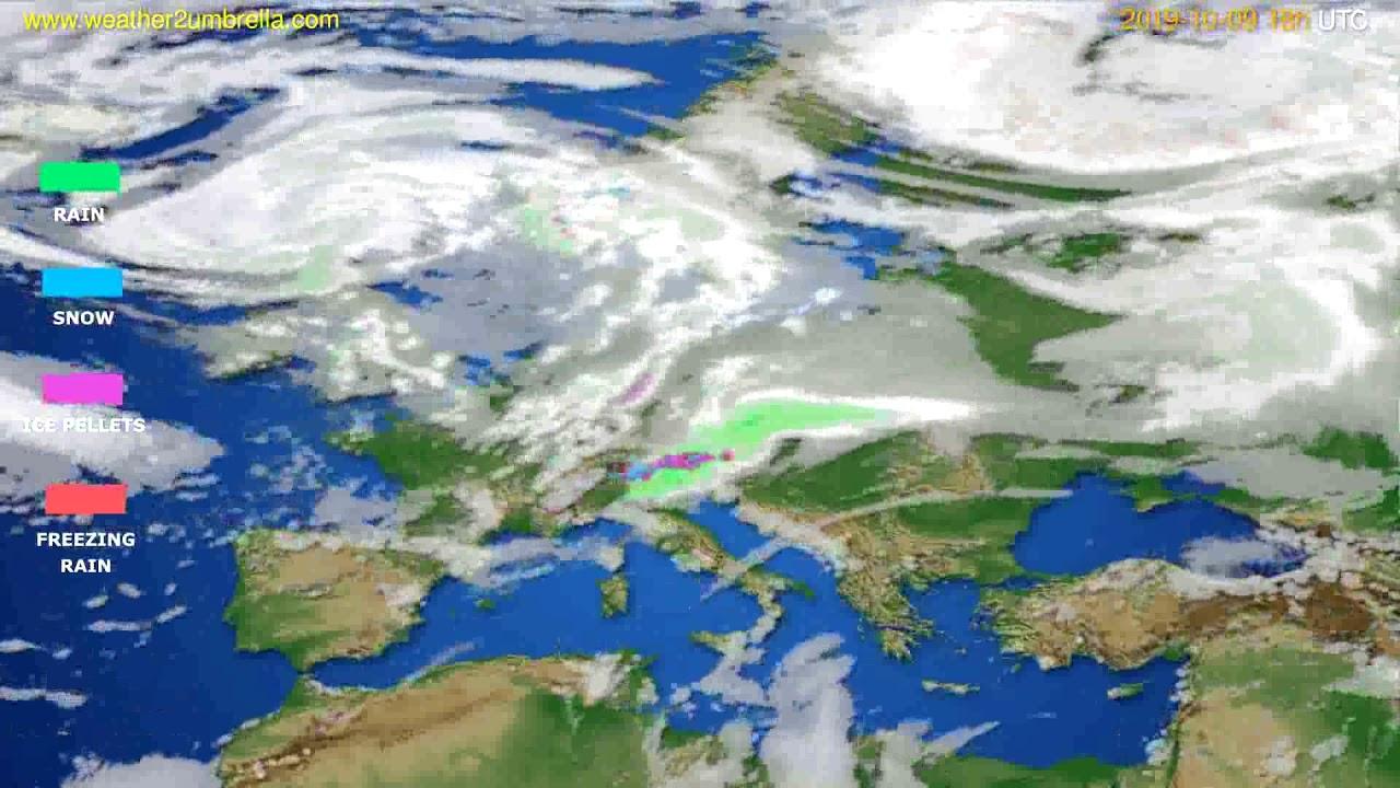 Precipitation forecast Europe // modelrun: 12h UTC 2019-10-07