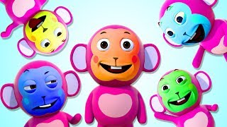 The Monkey Family Song | Learn Colors With Color Face | 3D Nursery Rhymes By All Babies Channel