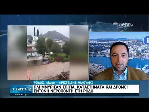 Ρόδος: Πλημμύρισαν σπίτια και καταστήματα από την νεροποντή | 16/02/2020 | ΕΡΤ