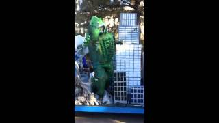 """Godzilla takes to the streets seeking revenge on the toxic nuclear industry. Today Godzilla seeks out Toro Energy who are proposing WA's first uranium mine at Wiluna. Help him say """"no"""" to Toro. Next on Godzilla's list is Cameco, Paladin and BHP Billiton"""