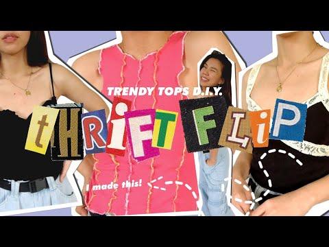 TRENDY TOPS D.I.Y. (y2k, easy & basic tops) Thrift flip Ep. 10