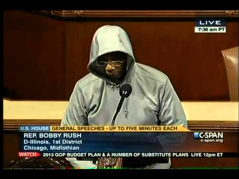Congressman - Video of Congressman Bobby Rush wearing hoodie on House Floor 3/28/2012.