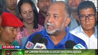 ADP confirma profesora se suicidó por estar bloqueada de nómina; anuncian paro nacional de docencia