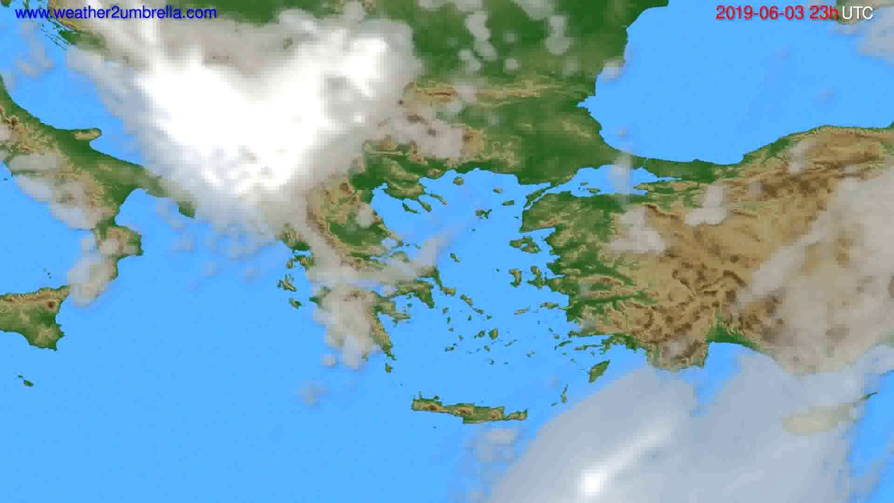 Cloud forecast Greece // modelrun: 12h UTC 2019-05-31