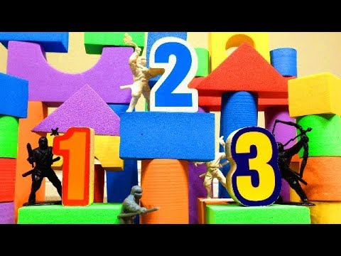 NUMBER NINJAS! Learn Numbers 1-10 with our Biggest Toy Towers Ever!