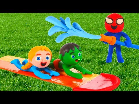 Kids Paying With Water Slide ❤ Cartoons For Kids