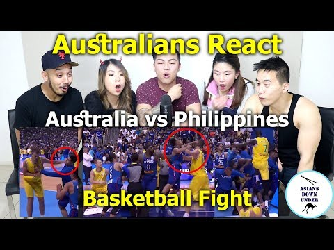 huge basketball fight breaks out between australia and phili