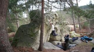 Hannes Puman climbing Amok 8A in Fontainbleau by Five Ten