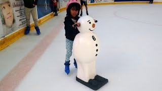 Little Girl Ice Skating in Dubai Biggest Ice Rink ! Kids Family Fun Playtime