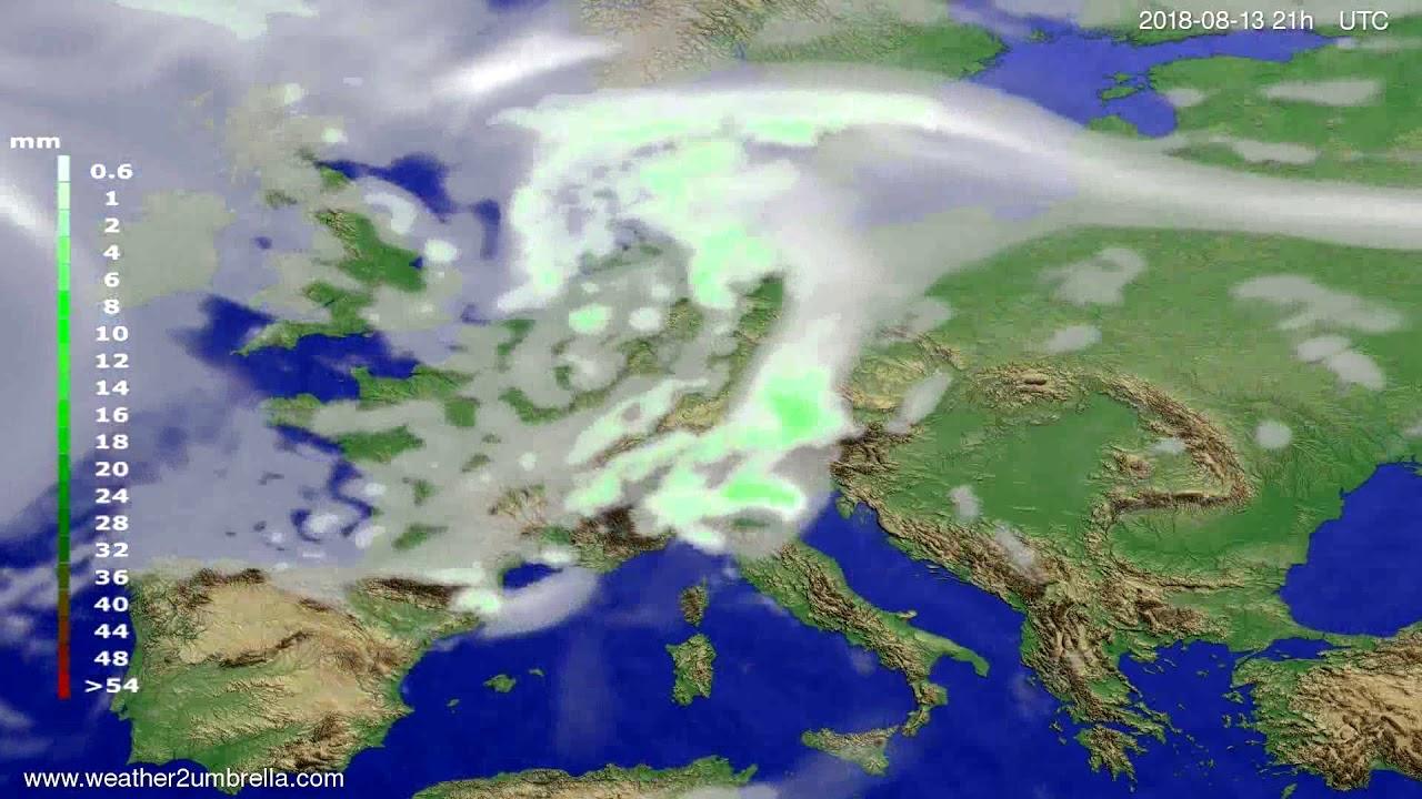 Precipitation forecast Europe 2018-08-10