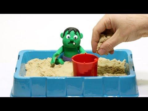 Baby Hulk sand 💕Superhero Play Doh Stop motion cartoons