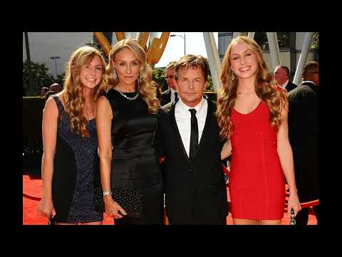 family actor Michael J  Fox and his wife actress Tracy Pollan and Children
