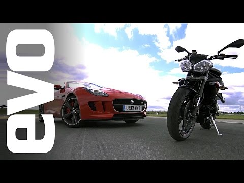 R - Jethro Bovingdon is at Blyton Park to see whether the Jaguar F-type is quicker than a Triumph Street Triple R over a flying lap of the circuit. OTHER PLACES TO FIND EVO: NEWSTAND: http://shop.in...