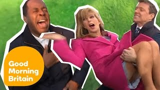 Subscribe now for more! http://bit.ly/1NbomQa Take a look back at some of Good Morning Britain's funniest trips, falls, mistakes and mishaps! Like, follow an...