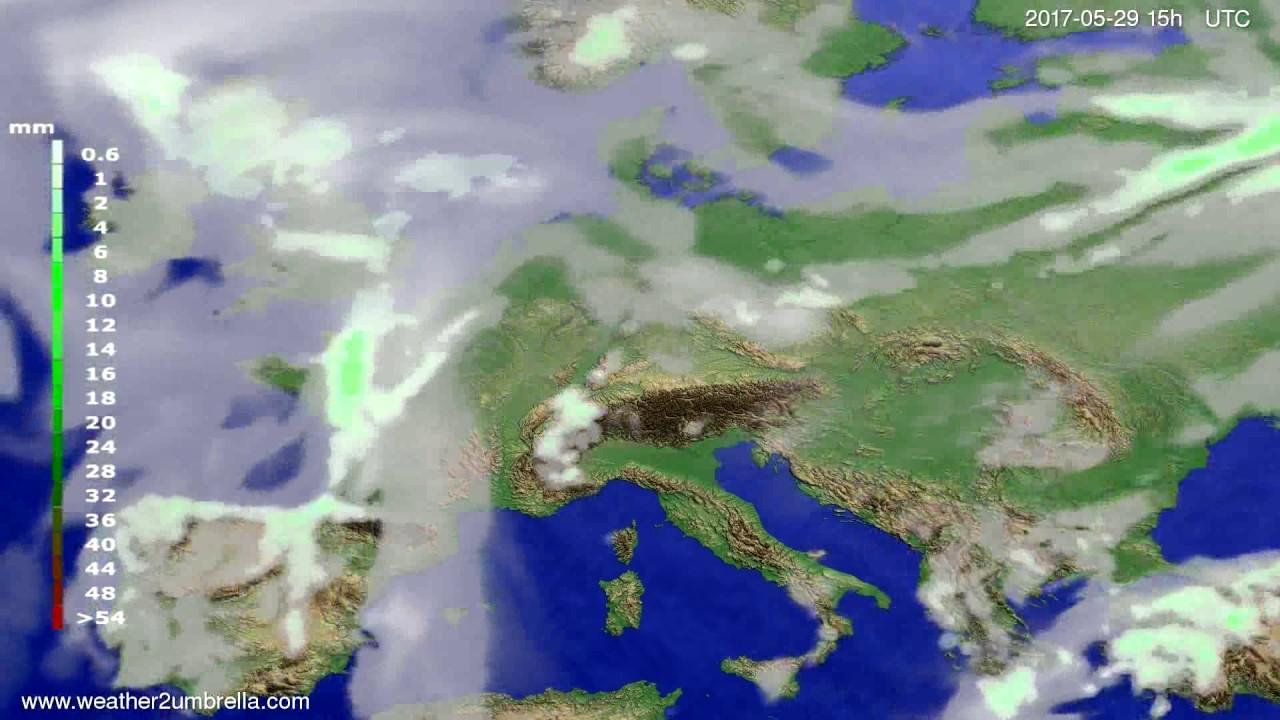 Precipitation forecast Europe 2017-05-27