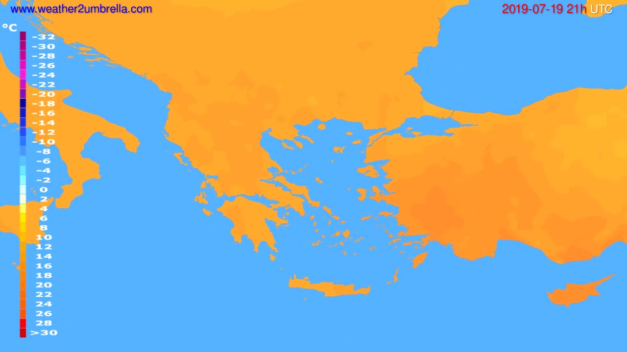 Temperature forecast Greece // modelrun: 00h UTC 2019-07-18