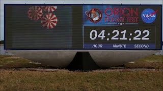 Orion EFT-1 Re-Entry And Splashdown On KSC's New Countdown Clock
