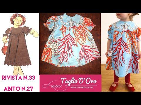 Come fare un abito per bambina con Taglio D'Oro - modello n. 27 Rivista n. 33 - Dress Diy