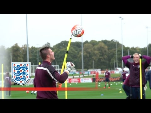 England's GK coach manages to impale the ball on a spike during training