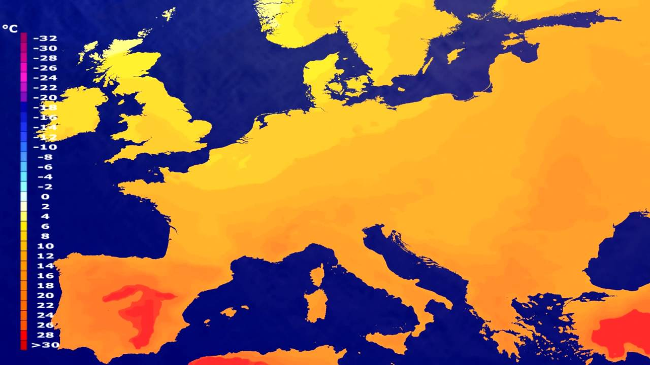 Temperature forecast Europe 2016-07-26