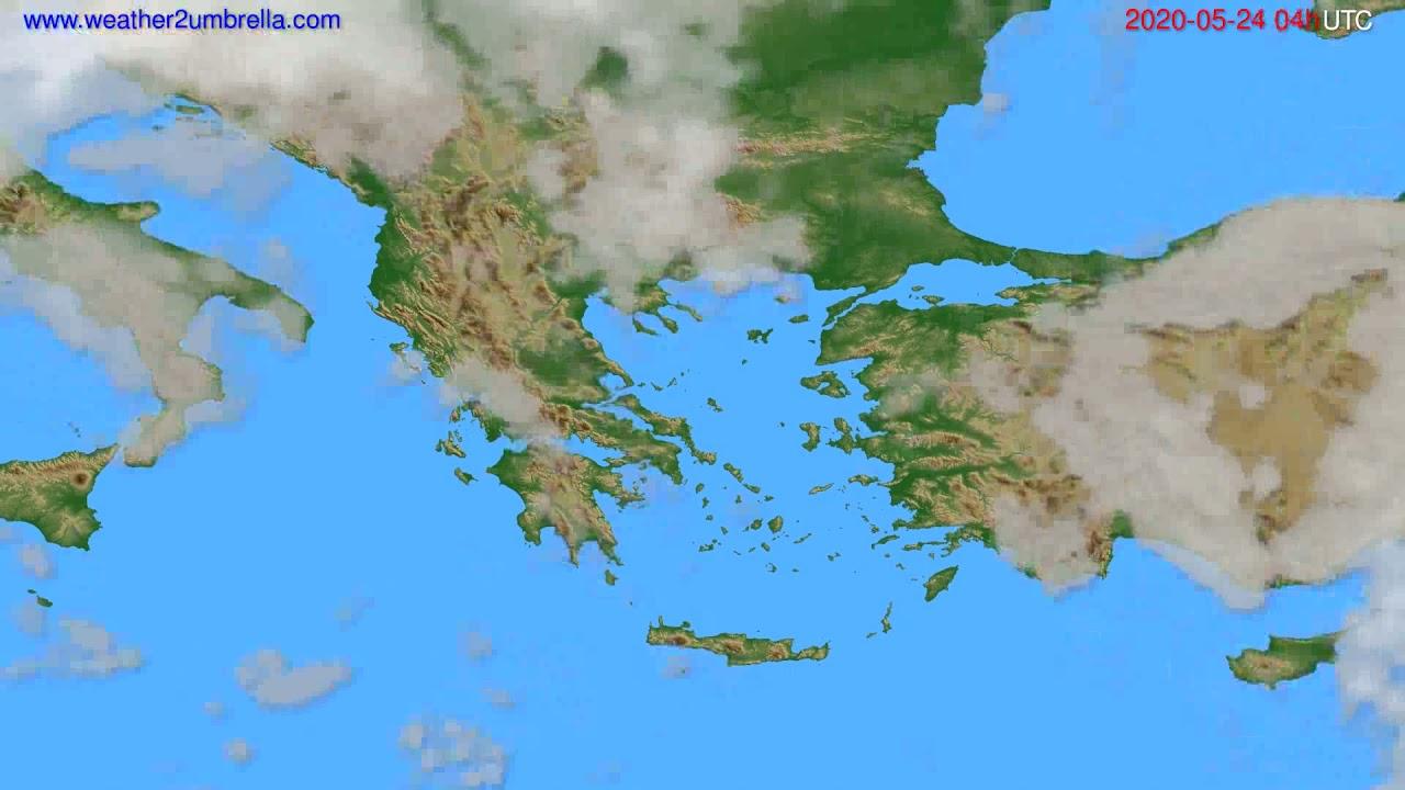 Cloud forecast Greece // modelrun: 12h UTC 2020-05-23