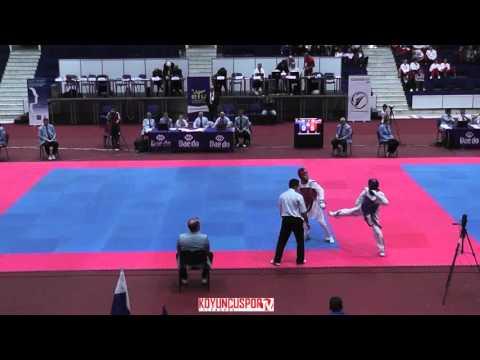 54kg Quarterfinal Artamonov, Mikhail (RUS) vs (ROU) Trifan, Ovidiu (-21 ETU TKD Championships 2015) (видео)