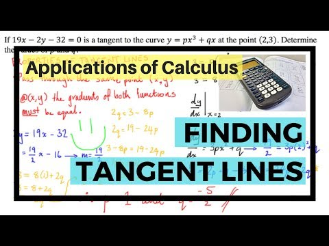 Applications of Calculus - Finding Unknowns Using Properties of Tangent Lines