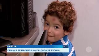 Criança se machuca em calçada de escola em Marília