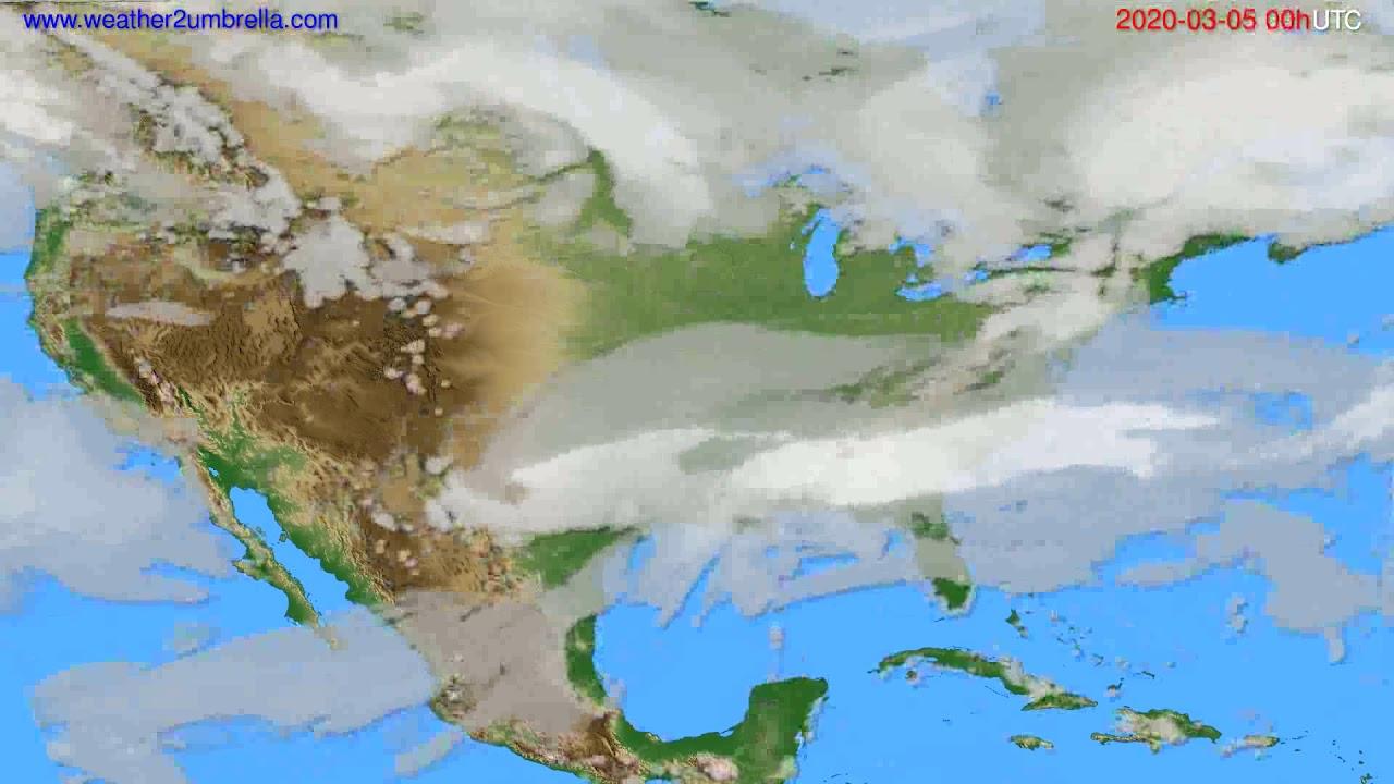 Cloud forecast USA & Canada // modelrun: 00h UTC 2020-03-04