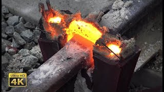 Video Rails thermite welding - Eruptions, melt squeezing and grinding [4K] MP3, 3GP, MP4, WEBM, AVI, FLV Januari 2019