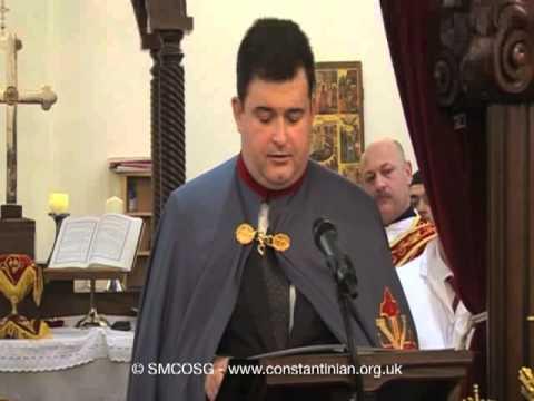 Ordine Constantiniano 2011 – Discorso del Delegato britannico e irlandese Anthony Bailey durante l'investitura nella Chiesa siro-ortodossa