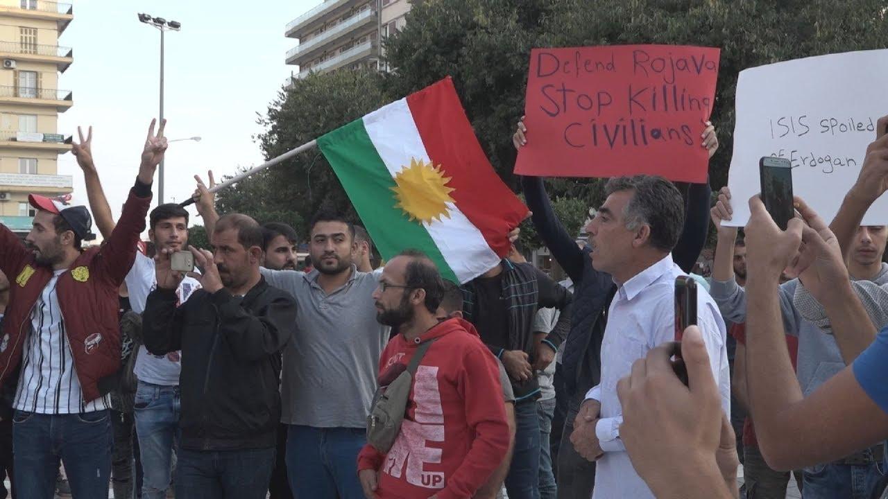 Διαδήλωση Κούρδων στη Θεσσαλονίκη ενάντια στις στρατιωτικές επιχειρήσεις της Τουρκιας στη Συρία