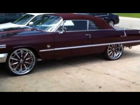 "1963 Chevy Impala Vert on 24"" staggered asantis"