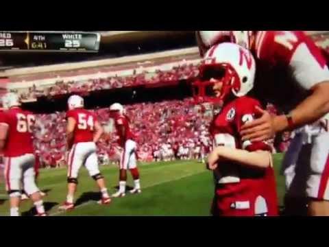 7 yr old cancer patient Jack Hoffman runs 69 yd Touchdown at Nebraska Football Spring Game