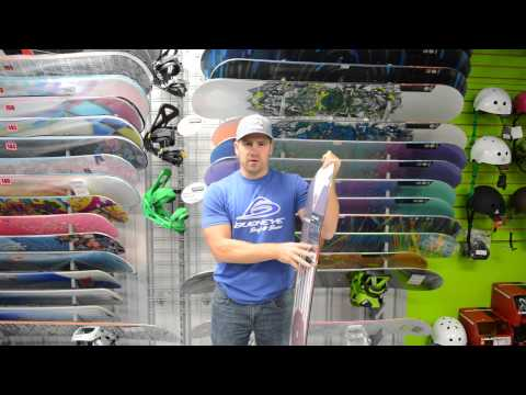 snowboard - How to pick the right snowboard for beginners - http://www.BuckeyeSurf.com Craig from Buckeye Surf & Snow in Bobcaygeon walks you through some of the differe...