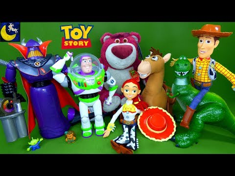 Lots Of New Toy Story Toys Villains Zurg Lotso Talking Woody Buzz Lightyear Unboxing Toy Video