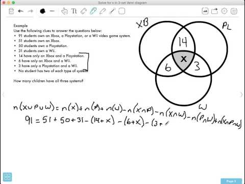 How Do You Solve For The Middle Value In A 3 Set Venn Diagram The