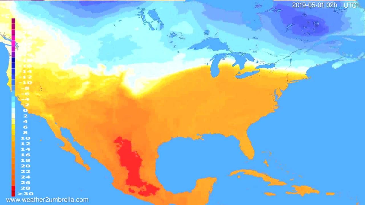 Temperature forecast USA & Canada // modelrun: 12h UTC 2019-04-28