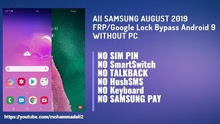 Video All SAMSUNG AUGUST 2019 FRP/Google Lock Bypass Android 9 WITHOUT PC | NO SmartSwitch | NO TALKBACK MP3, 3GP, MP4, WEBM, AVI, FLV September 2019
