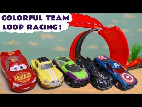 Hot Wheels Cars 3 Learn Colors Loop Race With Disney Pixar McQueen And Marvel Avengers 4 Superheroes