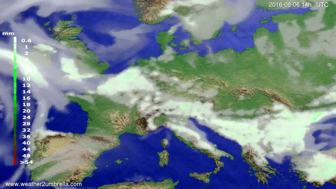 Precipitation forecast Europe 2016-06-02