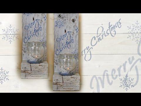 DIY Shabby Chic Kerzenhalter / Candle Holder aus einer Palette in Chalky