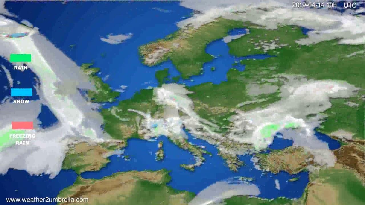 Precipitation forecast Europe // modelrun: 00h UTC 2019-04-12